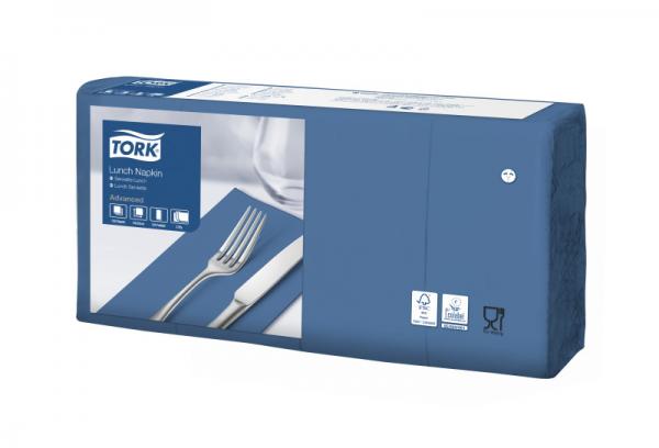 Tork Soft Lunchservietten - Dunkelblau, 1/8 Falz