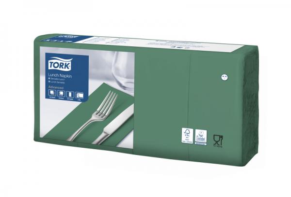 Tork Soft Lunchservietten - Dunkelgrün, 1/8 Falz