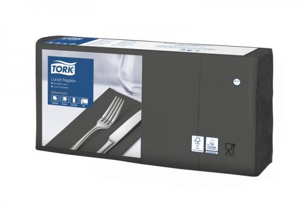 Tork Soft Lunchservietten - Schwarz, 1/8 Falz