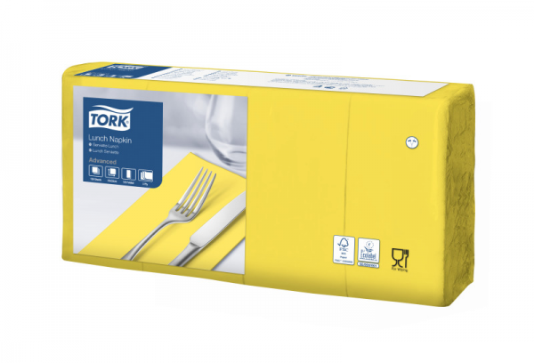 Tork Soft Lunchservietten - Gelb, 1/8 Falz