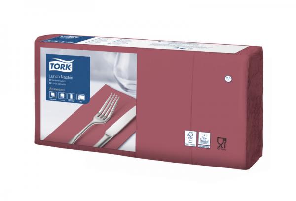 Tork Soft Lunchservietten - Bordeauxrot, 1/8 Falz