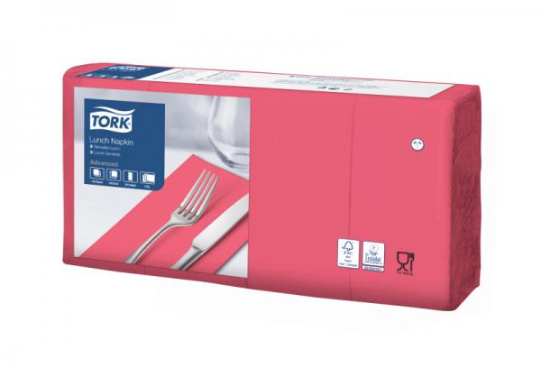 Tork Soft Lunchservietten - Rot, 1/8 Falz