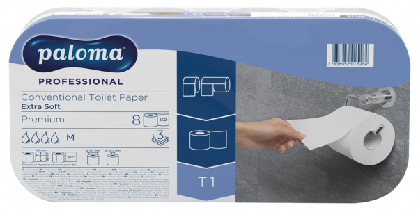 Toilettenpapier EXTRA SOFT, Professional PREMIUM, 3-lagig, Hochweiß, 8 x 150 Blatt